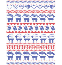 christmas pattern inspired by scandinavian pattern vector image
