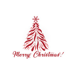 christmas tree greetings card image vector image