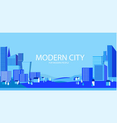 city silhouette and suburb in blue heights trees vector image