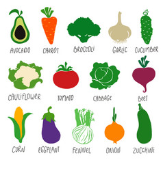 collection colorful vegetables vector image