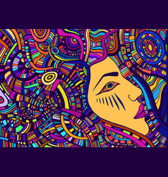 Colorful tribal surreal psychedelic abstract face vector