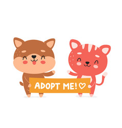 cute happy smiling cat and dog hold banner vector image