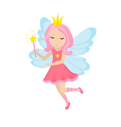 Cute little fairy icon cartoon style isolated on vector