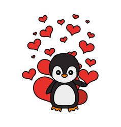 cute penguin hearts valentines day vector image