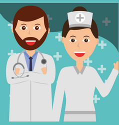 doctor and nurse healthcare and medical occupation vector image