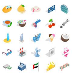 Dubai icons set isometric style vector