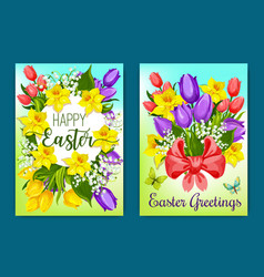 easter flowers greeting card with floral wreath vector image