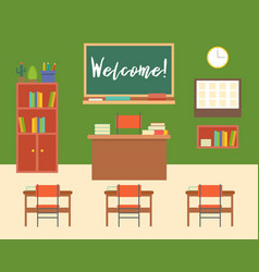Empty classroom or study room interior background vector