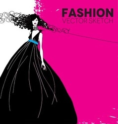 fashion model in a black dress vector image