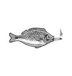 Fish smokes a cigarette sketch vector