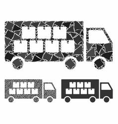 Goods transportation truck mosaic icon raggy vector