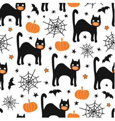 halloween black cat wearing face mask seamless vector image