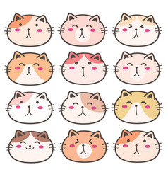 hand drawn cute cat characters set vector image