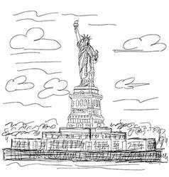 Hand drawn of famous tourist destination statue vector