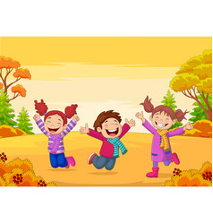 happy children jumping on autumn background vector image