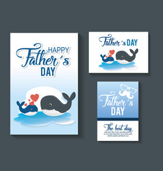 happy fathers day card with whale vector image
