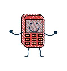Happy phone icon vector
