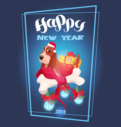 holidays 2018 greeting card happy new year vector image