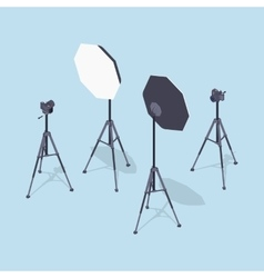 Isometric photo cameras tripods and softboxes vector image