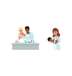 man and woman pediatrician or medical doctor vector image