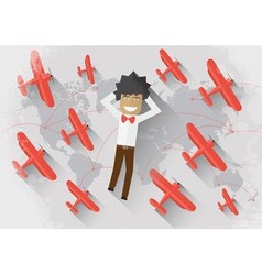 man dream about travel vector image