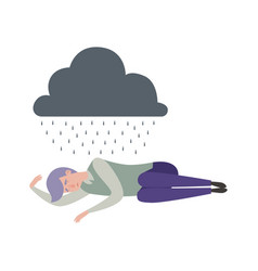 Man sleep depression sad alone male under rainy vector