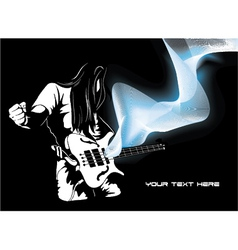 Man with guitar and wave vector