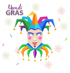 mardi gras carnival concept with jester vector image