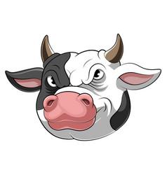 mascot head an cow cartoon vector image