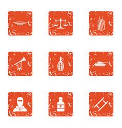 Menace icons set grunge style vector
