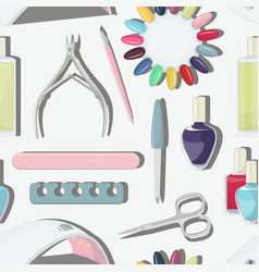 Nail salon set pattern vector