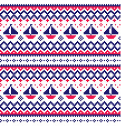 Nautical scottish fair isle style traditional knit vector