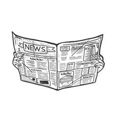 Newspaper in hands sketch vector