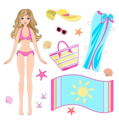 Paper doll in beach clothes vector