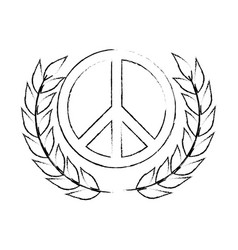 peace symbol with leafs vector image