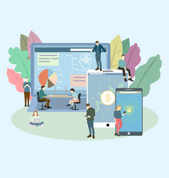 people are using desktop and mobile device vector image