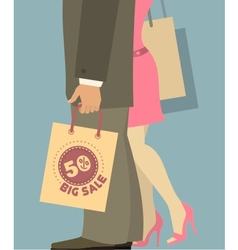 people with shopping bags vector image