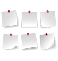 Pinned empty white note paper curled corner red vector