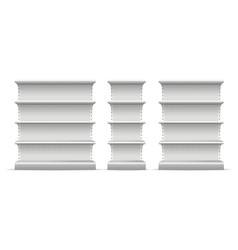 realistic 3d detailed supermarket shelves set vector image