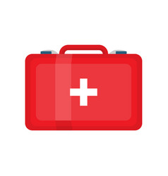 red first aid kit on white vector image
