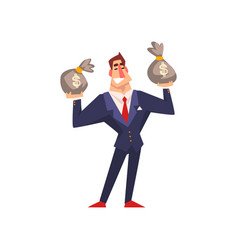 rich successful businessman character with money vector image