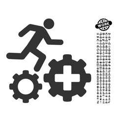 Runner treatment process gears icon with people vector