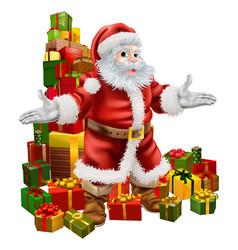 santa claus and christmas gifts vector image