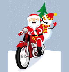santa claus and snowman on a red motorcycle vector image