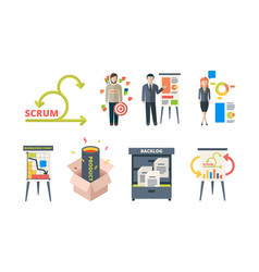 Scrum system business processes time management vector