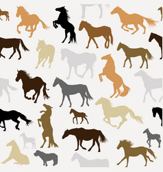 Seamless background with horse silhouettes vector