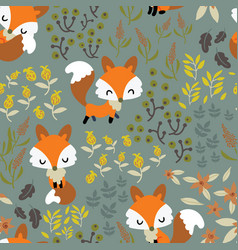 seamless pattern with cute foxes in a garden vector image