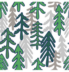 Seamless repeat pattern with forest doodles vector