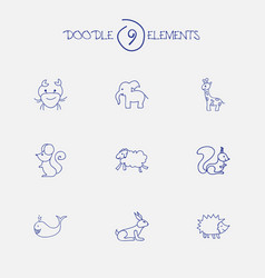 Set of 9 editable zoo doodles includes symbols vector