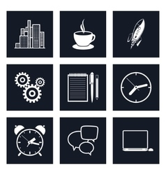 Set of Black Round Business Icons Team Work vector image